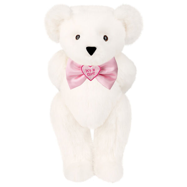 "15"" ""It's a Girl!"" Bow Tie Bear - Standing jointed bear dressed in light pink satin bow tie with ""It's a Girl!"" is embroidered on heart center - Vanilla White fur image number 2"
