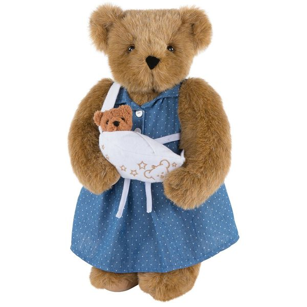 """15"""" Cub in the Oven - Front view of Standing jointed beardressed in a blue dress with white dots and white belt holding a cub in a white sling with embroidered accents - Honey brown fur image number 3"""