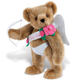 """15"""" Cupid Bear - Three quarter view of standing jointed bear dressed in white diaper, white sash with pink flowers and holding a cupid bow. Sash says """"I Love You"""" - Honey brown fur image number 0"""