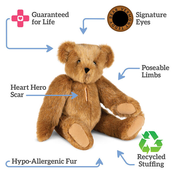 "15"" Love Your Heart Bear - Three quarter view of seated jointed bear with embroidered scar down center of chesttext reads, ""Signature Eyes;  Poseable Limbs; Recycled Stuffing; Hypo-Allergenic Fur; Heart Hero Scar; Guaranteed For Life"".  image number 3"