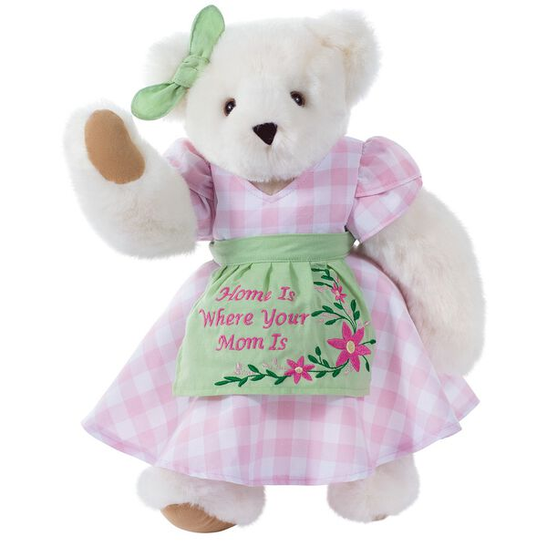 """15"""" Home Is Where Your Mom Is Bear - Front view of standing jointed bear wearing a pink gingham dress, green bow and apron with floral embroidery and says """"Home is Where Your Mom Is"""" - Vanilla white fur image number 3"""