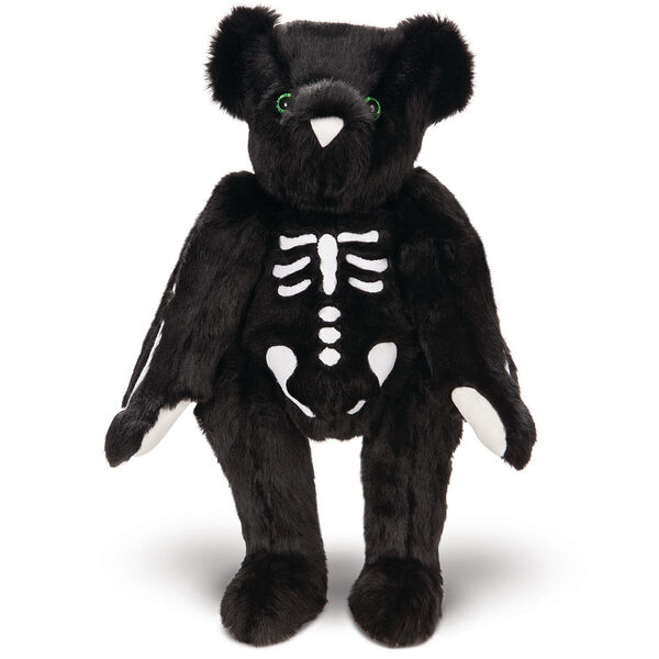 """15"""" Skeleton Bear -  Standing front view of jointed black bear with glow in the dark eyes and bones white nose and white pads.  image number 3"""