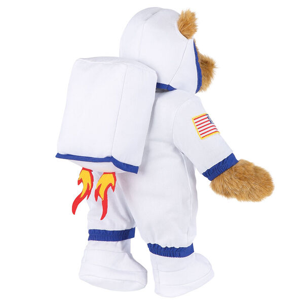 """15"""" Astronaut Bear - Back view of standing jointed bear dressed in white space suit, boots, helmet and jet pack with shooting flames - Honey brown fur image number 1"""