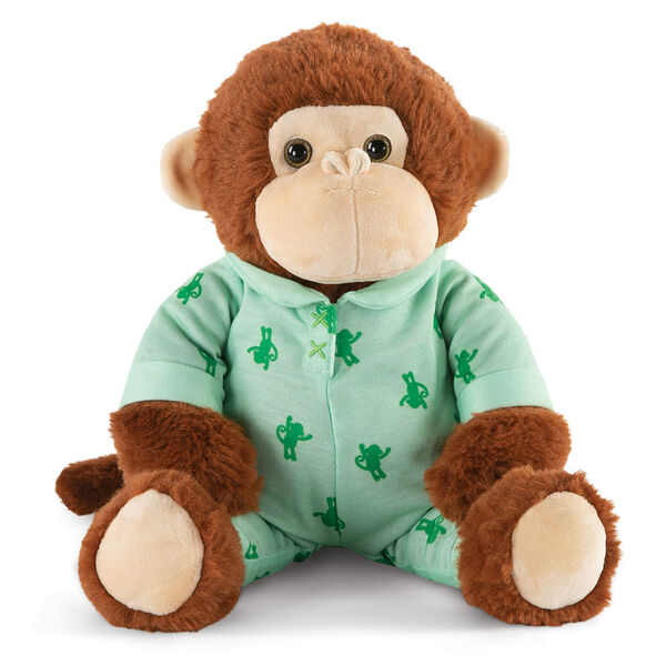 """13"""" PJ Pal Monkey - Front view of cinnamon brown Monkey with tan muzzle in green cotton onesie pajamas with Monkey print  image number 8"""