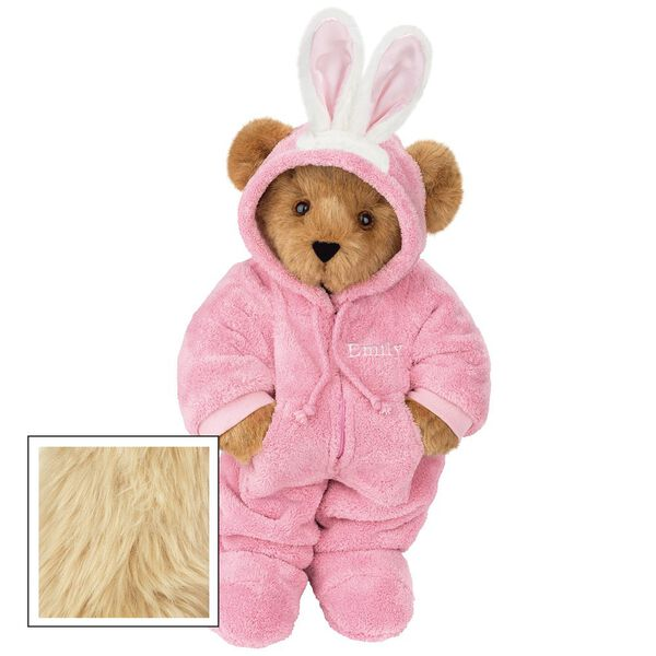 """15"""" Hoodie-Footie Bunny Bear - Front view of standing jointed bear dressed in pink hoodie footie and bunny ears personalized with """"Emily"""" in white on left chest - Maple brown fur image number 7"""