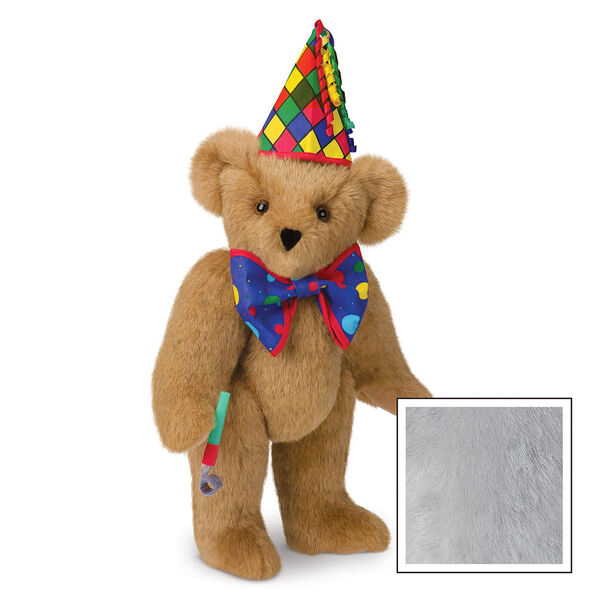 "15"" Celebration Bear - Standing jointed bear dressed in colorful diamond print party hat with ribbon streamers, a blue dot bow tie holding a party horn  - Gray image number 4"