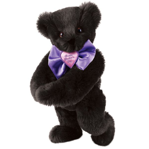 """15"""" Happy Mother's Day Bow Tie Bear - Standing jointed bear dressed in purple satin tie; """"Happy Mother's Day"""" is embroidered on pink satin heart center - Black fur image number 3"""