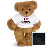 """15"""" """"I HEART You"""" Personalized T-Shirt Bear - Standing Jointed Bear in white t-shirt that says I """"Heart"""" You in black and red lettering - Black fur image number 4"""