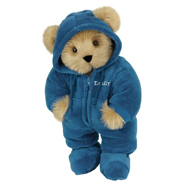 "15"" Hoodie-Footie Bear Blue - Front view of standing jointed bear dressed in blue hoodie footie personalized with ""Emily"" in white on left chest - Maple brown fur image number 6"