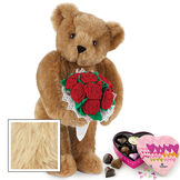 """15"""" Red Rose Bouquet Bear and Chocolates - Front view of standing jointed bear holding a large red bouquet wrapped in white satin and lace  and 6 pc. heart box of chocolates - Maple image number 7"""