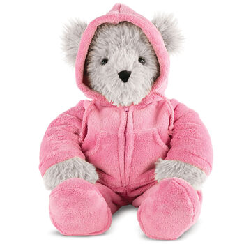 """18"""" Gray Super Soft Pink Hoodie Footie Bear"""