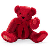"""20"""" Special Edition 40th Anniversary Bear - Seated jointed ruby red bear with red pads and gold Vermont Teddy Bear logo on right foot with red bow image number 2"""