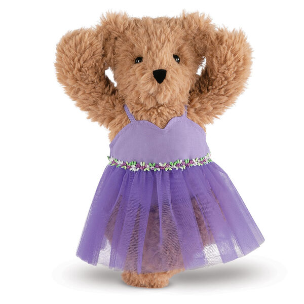 """13"""" Super Soft Ballerina Bear - Front view of standing Almond Brown Bear in purple ballerina dress with floral trim.  image number 0"""