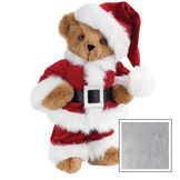 """15"""" Santa Claus Bear - Front view of standing jointed bear dressed in red velvet and white fur Santa suit with pants, coat and hat and black belt - Gray image number 4"""