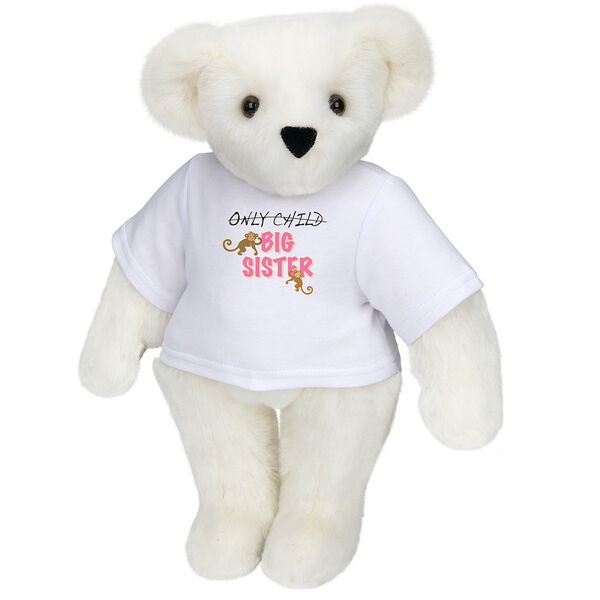 "15"" New Big Sister T-Shirt Bear - Front view of standing jointed bear dressed in white t-shirt with brown and pink graphic that says, ""only child (struck out) Big Sister"" with monkeys hanging from ""Sister"" - Vanilla white fur image number 2"