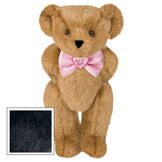 "15"" ""It's a Girl!"" Bow Tie Bear - Standing jointed bear dressed in light pink satin bow tie with ""It's a Girl!"" is embroidered on heart center - Black fur image number 3"