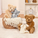 "15"" Cuddle Buddies Gift Set with Elephant Blanket - group image if 15"" jointed seated bears with light brown bear and gray elephant blankets in bedroom scene image number 9"