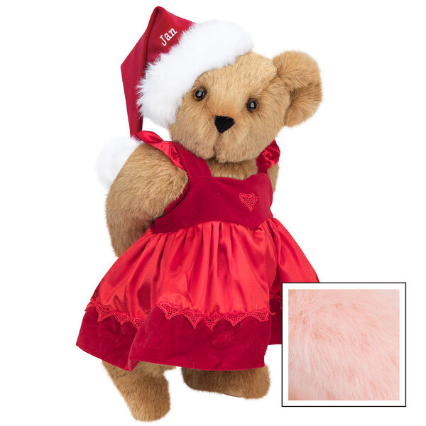 """15"""" Christmas Sweetheart Bear - Standing jointed bear dressed in white red velvet dress with heart lace trim and red velvet santa hat with white fur trim. Hat is personalized with """"Jan"""" above the fur - Pink image number 5"""