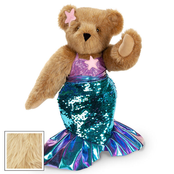 """15"""" Mermaid Bear - Three quarter view of standing jointed bear dressed in a blue sequin tail and purple top with shell embroidery an pink starfish applique and earpiece - maple brown fur image number 8"""