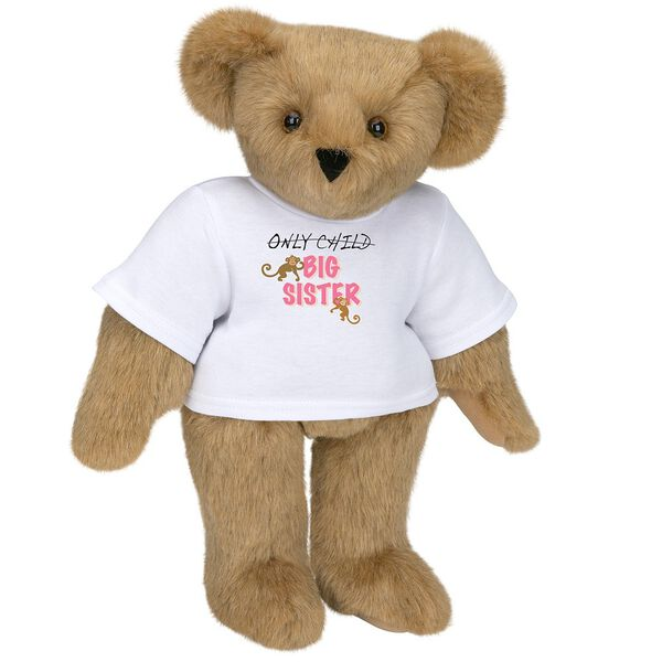 "15"" New Big Sister T-Shirt Bear - Front view of standing jointed bear dressed in white t-shirt with brown and pink graphic that says, ""only child (struck out) Big Sister"" with monkeys hanging from ""Sister"" - Honey brown fur image number 0"