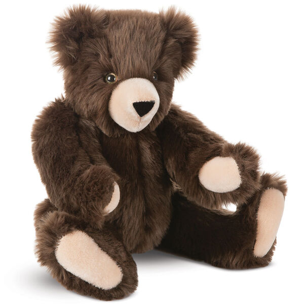 "15"" Espresso Mt. Philo Bear - Three quarter view of seated jointed bear  with hazel eyes with tan muzzle - Espresso brown fur image number 0"