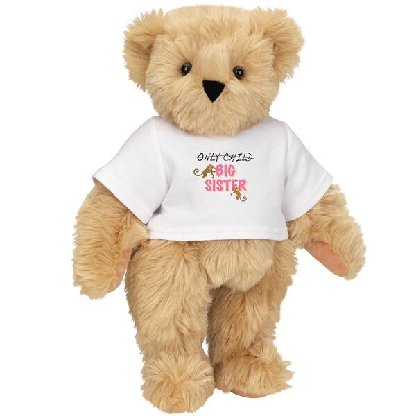 "15"" New Big Sister T-Shirt Bear - Front view of standing jointed bear dressed in white t-shirt with brown and pink graphic that says, ""only child (struck out) Big Sister"" with monkeys hanging from ""Sister"" - Maple brown fur image number 5"