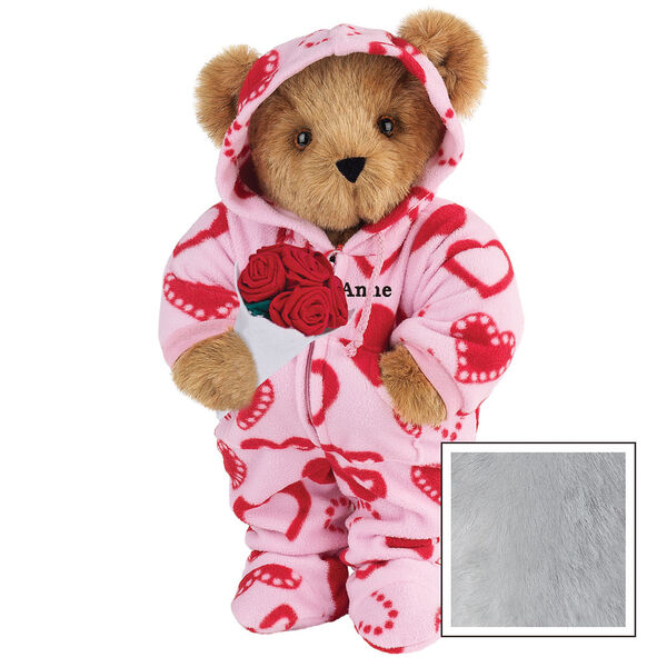 """15"""" Sweetheart Hoodie-Footie Bear with Red Roses - Front view of standing jointed bear dressed in pink hoodie footie with red heart pattern holding a bouquet of red roses, personalized with """"Anne"""" in black on left chest - Gray fur image number 4"""