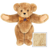 """15"""" Jewish Classic Bear - Front view of standing jointed bear dressed in gold velvet bow tie with Star of David in center - Maple image number 6"""