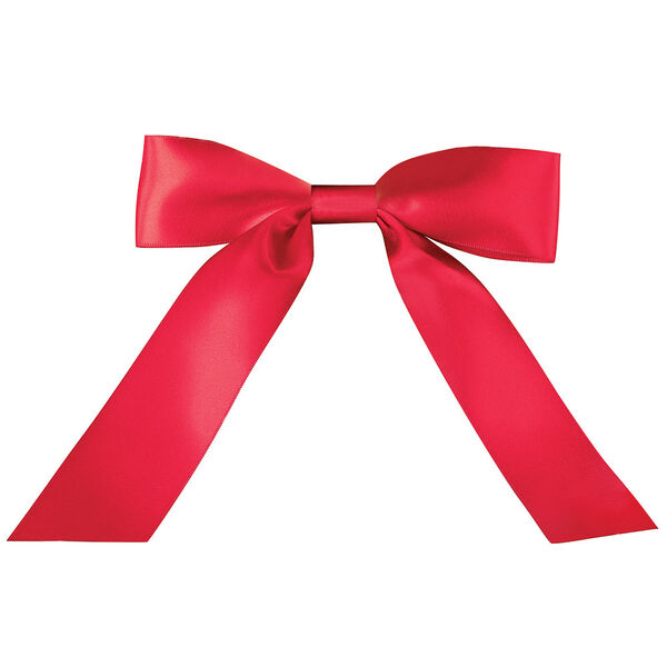 """Personalizable Red Satin Bow with Tails fits most 13"""" to 20"""" animals image number 0"""