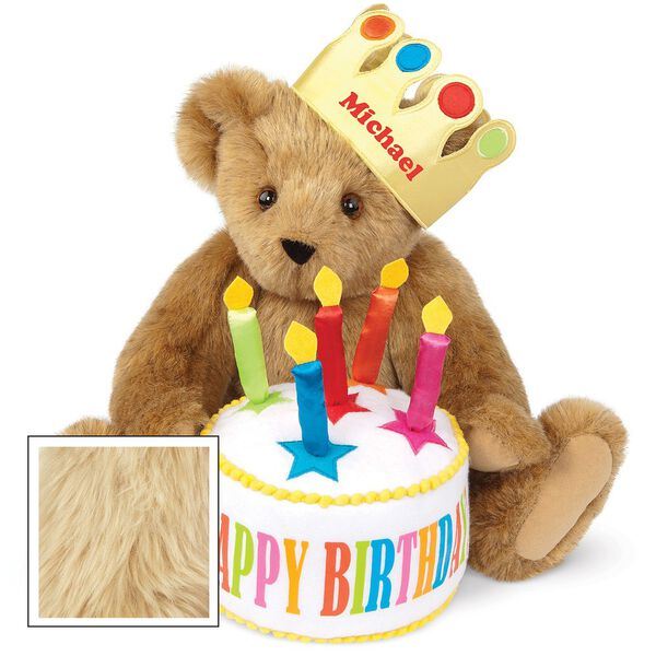 "15"" Happy Birthday Bear - Front view of seated jointed bear dressed in a gold crown with appliqued jewels holding a birthday cake with candles that says ""Happy Birthday"". Crown is personalized with ""Michael"" in red lettering - Maple brown fur image number 4"