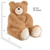"4' Big Hunka Love Bear with I Love You Bow - seated golden brown bear with measurement of 48"" tall or 30"" seated.  image number 3"