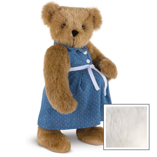 """15"""" Cub in the Oven - Three quarter view of standing pregnant jointed bear dressed in a blue dress with white dots and white belt.  - Vanilla white fur image number 5"""