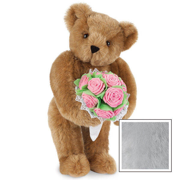 """15"""" Pink Rose Bouquet Teddy Bear - Front view of standing jointed bear holding a large pink bouquet wrapped in white satin and lace - Gray image number 6"""