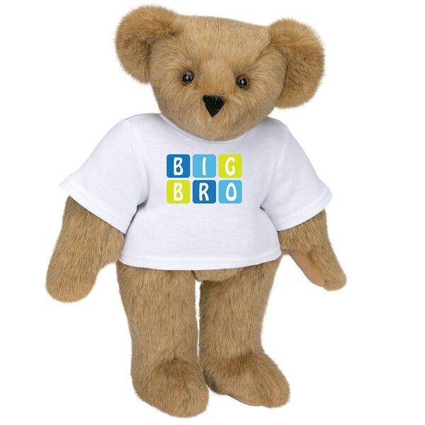 """15"""" BIG BRO T-Shirt Bear - Standing jointed bear dressed in white t-shirt with blue and green graphic that says, """"Big Bro' - Honey brown fur image number 0"""