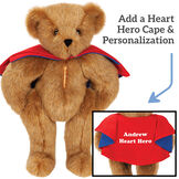 "15"" Love Your Heart Bear -  Honey Bear with Red Cape and inset with personalization on back with Andrew, Heart Hero image number 1"