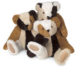 """15"""" Patchwork Bear - Front view of seated jointed bears in a combination of honey, buttercream, black and vanilla furs image number 0"""