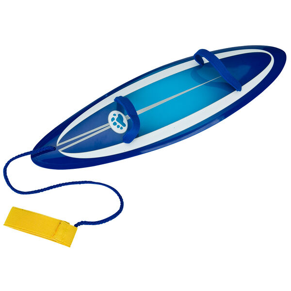 """Surfboard for 15"""" jointed bear with blue striped graphics and foot strap image number 0"""