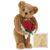 """15"""" Red Rose Bouquet Bear - Front view of standing jointed bear holding a large red bouquet wrapped in white satin and lace - Maple fur image number 6"""