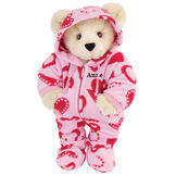 "15"" Hoodie-Footie Sweetheart Bear - Front view of standing jointed bear dressed in pink hoodie footie with red heart patternpersonalized with ""Anne"" in black on left chest - Buttercream brown fur image number 1"