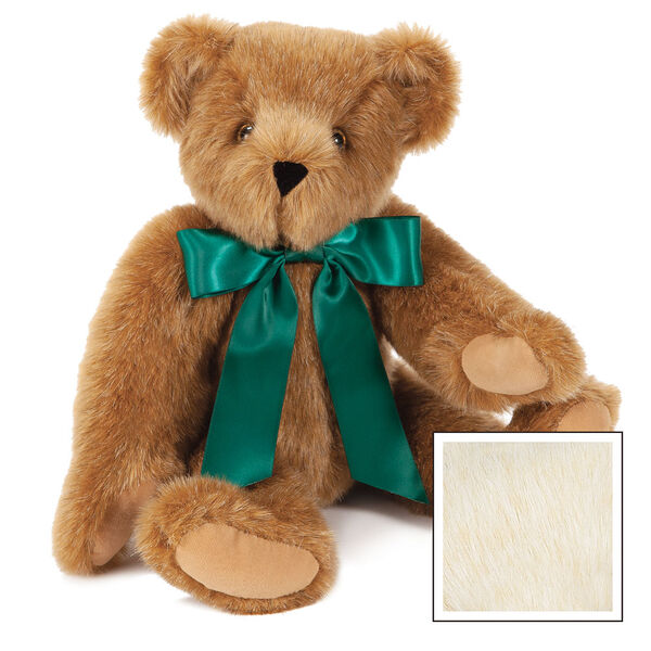 "15"" Green Ribbon Bow Bear  - Front view of seatedjointed bear dressed in a green satin bow with tails - Buttercream brown fur image number 2"