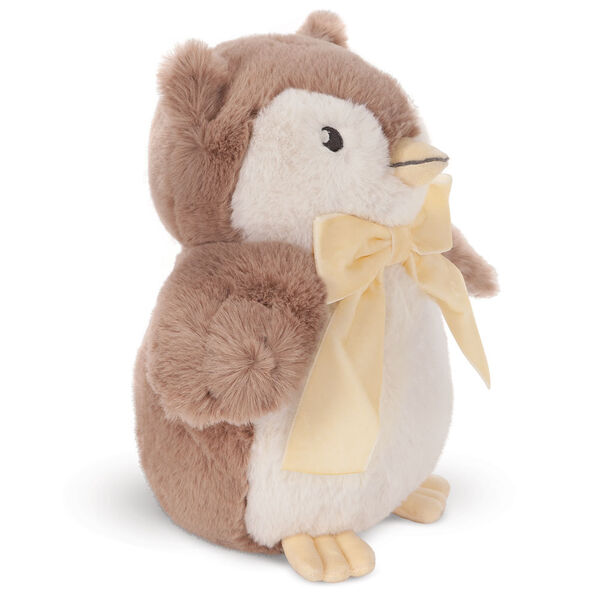 """13"""" Cuddle Cub Owl - Side view of standing brown and white plush owl with embroidered eyes and velvet ivory bow image number 1"""