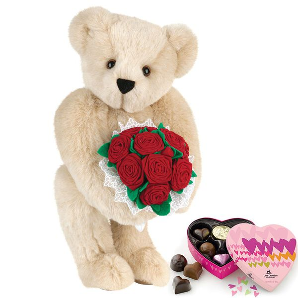 """15"""" Red Rose Bouquet Bear and Chocolates - Front view of standing jointed bear holding a large red bouquet wrapped in white satin and lace  and 6 pc. heart box of chocolates - Buttercream brown fur image number 2"""