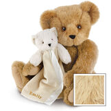 "15"" Cuddle Buddies Gift Set - Front view of seated jointed bear with ivory bear blanket with stroller strap personalized with ""Emily"" in gold lettering on corner of blanket - Maple brown fur image number 7"