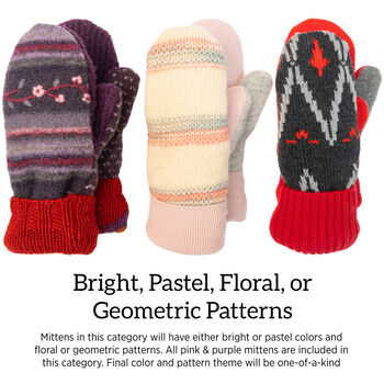 Bernie Mittens in Bright, Pastel, Floral and Geometric Patterns