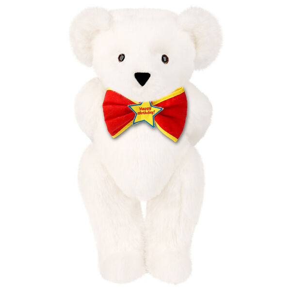 "15"" ""Happy Birthday"" Bow Tie Bear - Standing jointed bear dressed in red bow tie with yellow trim; ""Happy Birthday"" is embroidered on Star center - Vanilla white fur image number 1"