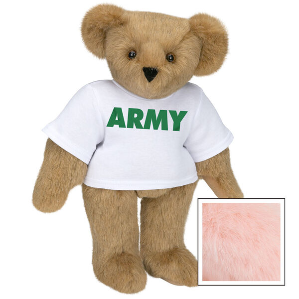 """15"""" Army T-Shirt Bear - Standing jointed bear dressed in a white t-shirt says, """"ARMY"""" in green lettering on the front of the shirt - Pink image number 5"""