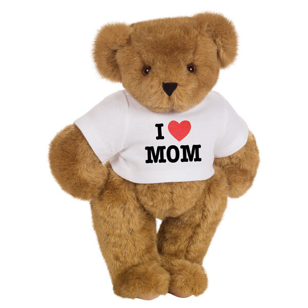 "15"" ""I HEART You"" Personalized T-Shirt Bear - Standing Jointed Honey Bear in white t-shirt that says I ""Heart"" Mom in black and red lettering image number 7"
