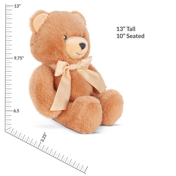 "13"" Cuddle Cub Bear with Bow - Side view of golden bear with cream velvet bow and measurement of 13"" standing or 10"" seated image number 3"