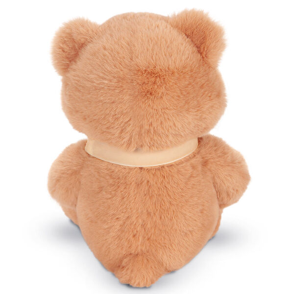 "13"" Cuddle Cub Bear with Bow - Back view of golden bear with cream velvet bow image number 8"