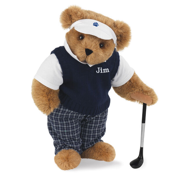 """15"""" Golfer Bear - Standing jointed bear in blue plaid pants, white polo shirt, dark blue vest and white visor holding a golf club - Honey image number 0"""